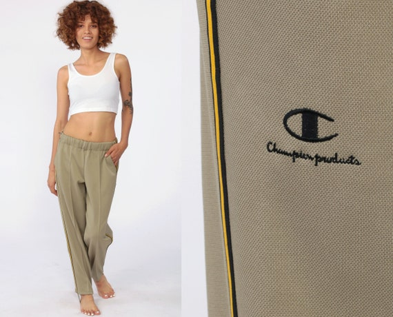 Champion Track Pants STIRRUP Track Pants Joggers 80s Streetwear Old School Track Suit 1980s Sports Tan Vintage Retro Extra Small xs