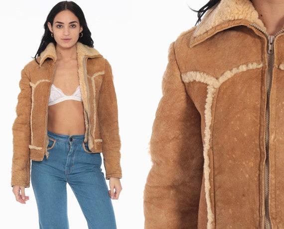 Leather Bomber Jacket 70s Shearling Coat Flight Tan Boho Coat Hippie Jacket Moto 80s Hipster Bohemian Sheepskin extra small xs 38
