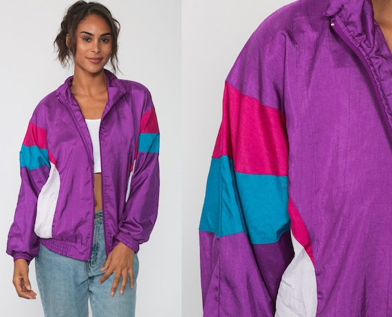 Purple Windbreaker Jacket 90s Shiny Striped Jacket Black Red Warmup Hipster Color Block Vintage 1990s Zip Up Warm Up Small Medium
