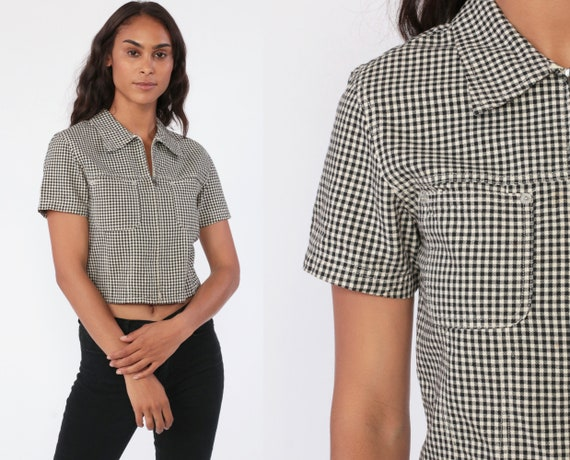 Y2K Gingham Shirt Checkered Crop Top GAP Cropped Shirt Black Plaid Blouse 90s Zip Up Shirt 1990s Vintage Short Sleeve Extra Small xs