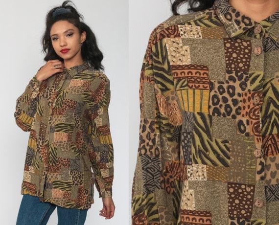 Safari Shirt Jungle Animal LEOPARD Print Cheetah 90s Top Leaf Africa Print Blouse 80s Button Up Long Sleeve Patchwork Large