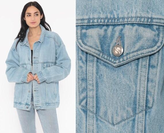 90s Jean Jacket PEPSI Brand Denim Jacket Blue Stone Wash Trucker 1990s Vintage Biker Button Up Extra Large xl l
