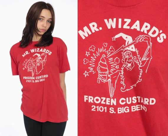 80s Mr. Wizards T Shirt -- 1990s FROZEN CUSTARD Shirt Wizard Soft Tee 90s Magic MISSOURI Yogurt Red Funny Top Oversized Tee Small Medium