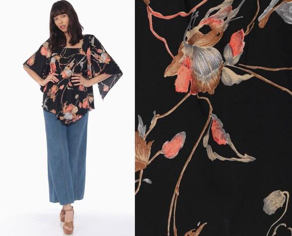 Bohemian Blouse ANGEL SLEEVE Top Black Floral Shirt Bell Sleeve Shirt 70s Boho Hippie Vintage 1970s Tent Trapeze Top Medium