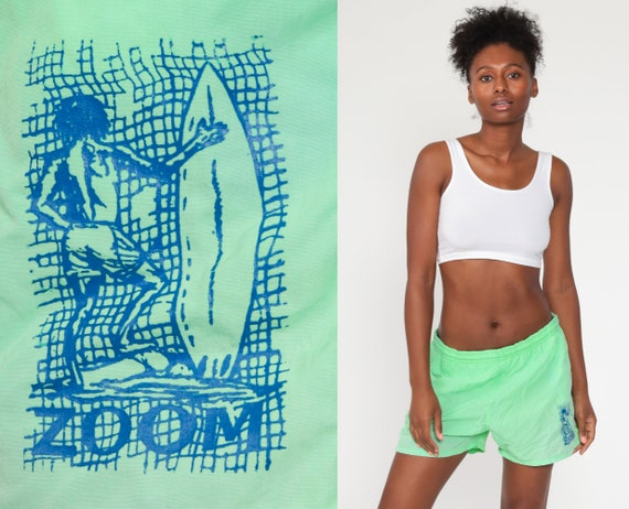 Neon Swim Shorts Lime Green Swim Trunks 90s Bathing Suit Surfer 80s Swim Bottoms Vintage Surf Swimsuit Vintage Retro Medium Large