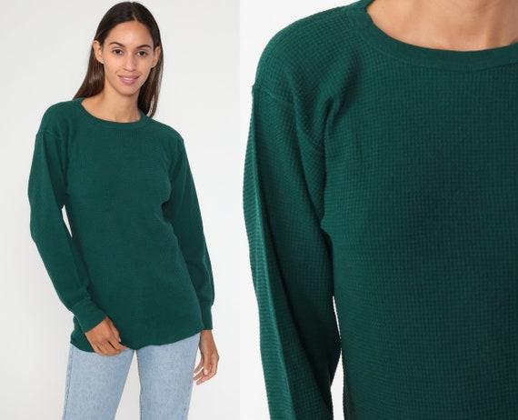 Green Thermal Shirt Long Sleeve Shirt WAFFLE KNIT Shirt 80s Under Shirt T Shirt Underwear Retro Tee Vintage Normcore Medium Large