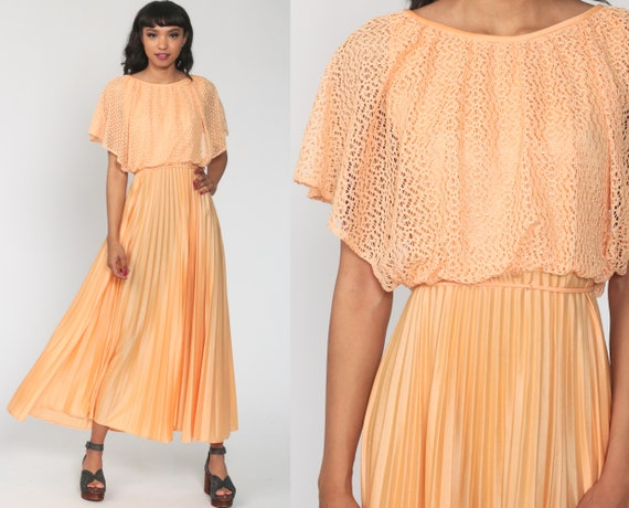 Pleated 70s Maxi Dress Orange Crochet Accordion Pleat 1970s Disco Draped Long Vintage Party Grecian High Waist Extra Small xs s