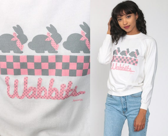 Bunny Sweatshirt WABBITS Rabbit Sweatshirt Animal Sweatshirt 80s Jumper Graphic Shirt Raglan Sleeve White Kawaii 1980s Vintage Small s