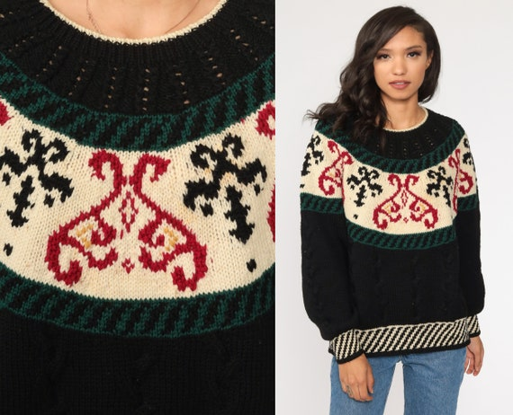 Wool Geometric Sweater 80s Black Sweater Cutout Knit Jumper 1980s Boho Vintage Pullover Fair Isle Retro Medium Large