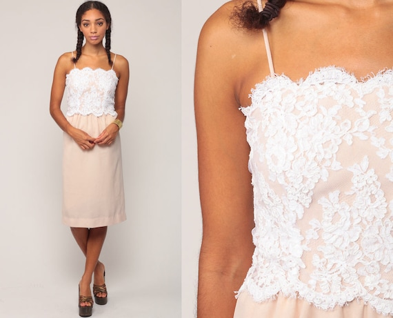 Boho Party Dress 70s LACE Dress Bohemian White Cocktail Formal High Waisted 1970s Midi Nude Vintage Spaghetti Strap Extra Small xs