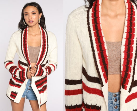 70s Wrap Sweater Bohemian Cardigan Striped Cream Boho Vintage Hippie Long 1970s Open Front Sweater Red Brown Medium Large