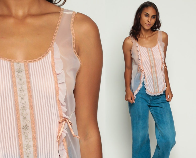 86f50ed82be9f5 Pastel Lingerie Top Sheer Babydoll Top Lace Tank 70s Ruffle