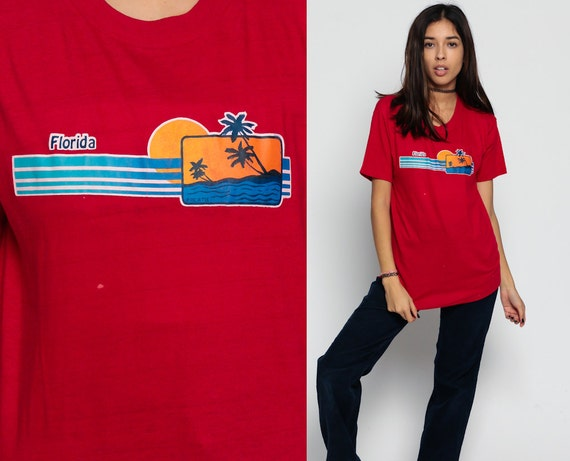 Graphic Tee Shirt Florida Tshirt Palm Tree Tropical Vintage 80s Tshirt Retro T Shirt 1980s Screen Print US State Travel Red Large