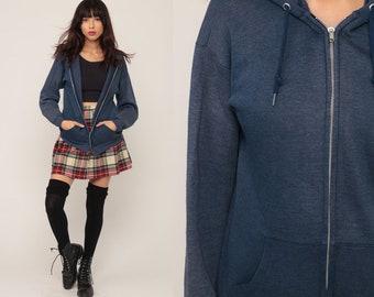 Hoodie Sweatshirt 80s Hooded Sweatshirt Blue Hood Zip Up Sweatshirt Slouchy 1980s Sweater Jacket Vintage Medium