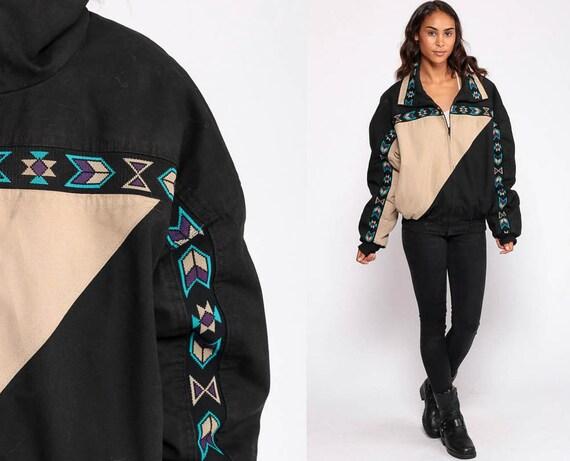 Tribal Jacket Black Bomber Jacket Color Block Boho 80s Southwestern Aztec Baseball Coat 90s Jacket Vintage Retro Extra Large xl