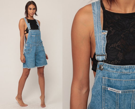 Short Overalls Denim Overall Shorts CUTOFF Shortalls Jeans 90s Grunge Jean Suspender Blue Woman Frayed 1990s Vintage Extra Small xs