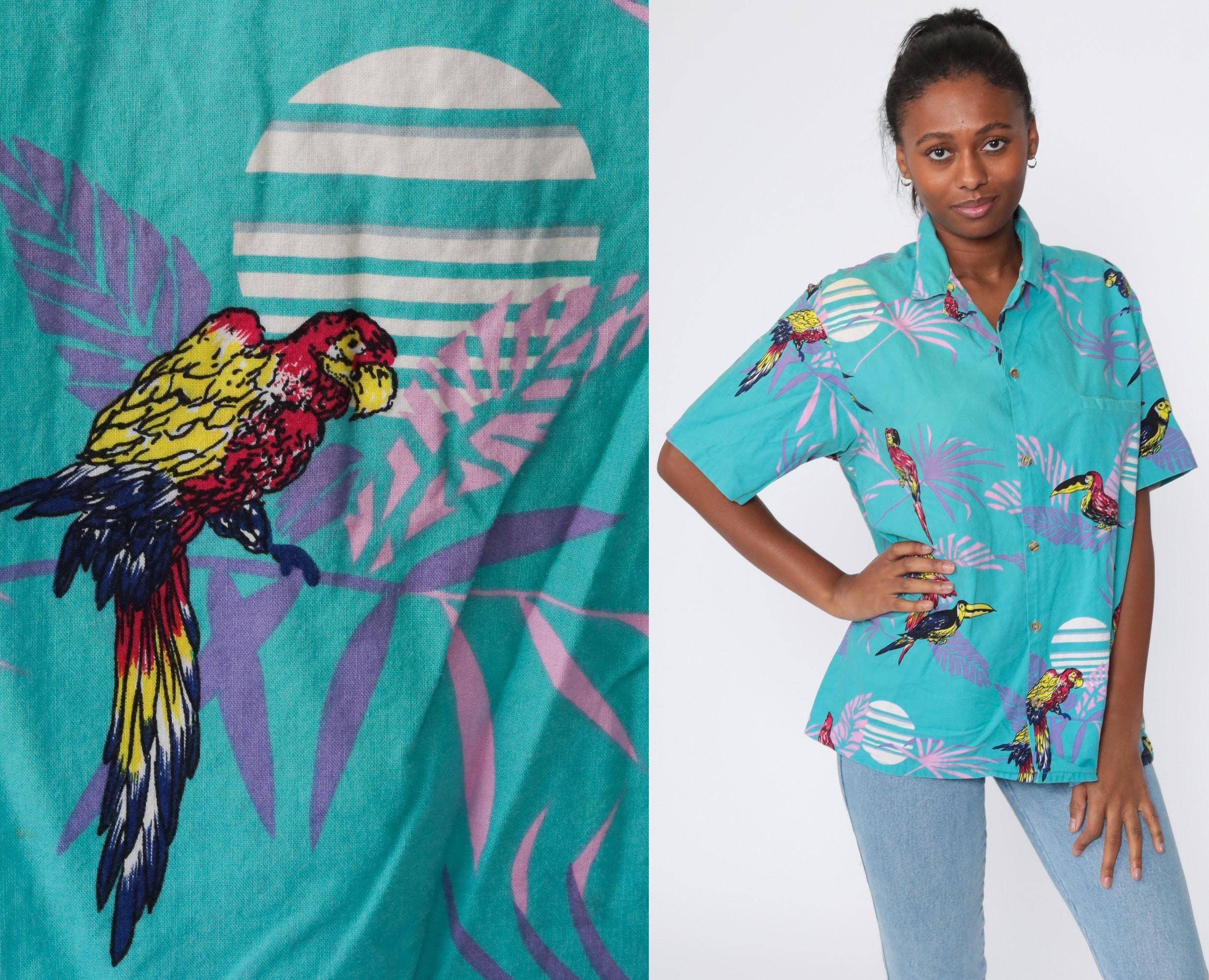 1970s Men's Shirt Styles – Vintage 70s Shirts for Guys Bird Shirt Tropical Surfer Parrot Print 70S Hawaiian Blouse Palm Tree Top Button Up Short Sleeve Beach 1970S Extra Large Xl L $39.00 AT vintagedancer.com