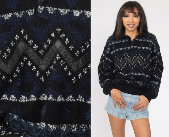 Geometric Leather Sweater Dark Blue Sweater 80s STRIPED Zig Zag Slouchy 1980s Acrylic Vintage 90s Knit Slouch Medium Large