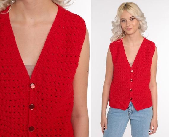 Crochet Vest Red Knit Top 70s Hippie Boho Vest Op… - image 1