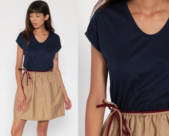 70s Mini Dress Navy Blue Cap Sleeve 80s BELTED High Waist Khaki Tan Toni Todd Plain Simple Day Dress Casual Vintage Boho Small Medium