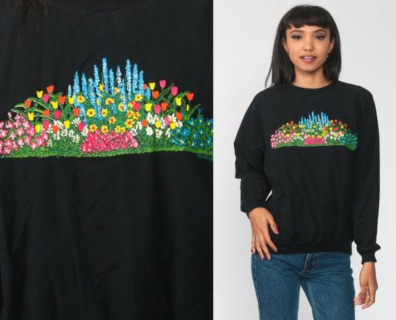 Black FLORAL Shirt Garden Print Tshirt Slouchy Long Sleeve Shirt 90s Grunge Shirt 80s Vintage Romantic Normcore  Small Medium Large