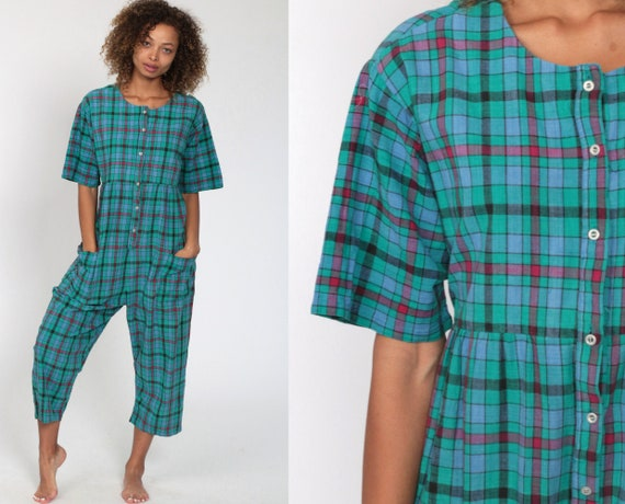80s Plaid Jumpsuit Checkered Blue Jumpsuit Pants Straight Leg One Piece Button Up 90s Vintage Short Sleeve Romper Cropped Small Medium