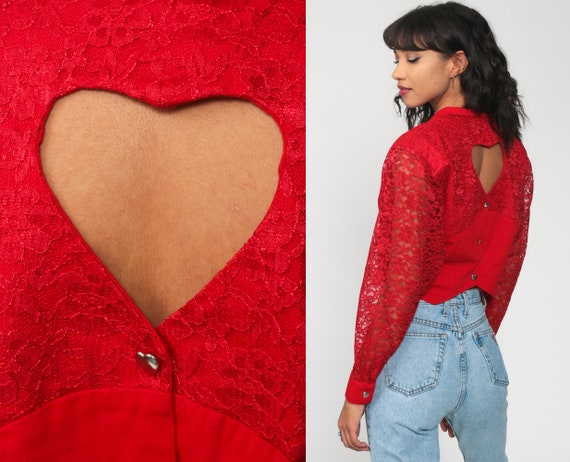 Heart Cutout Shirt Red Lace Top Western Cropped Blouse Collared Shirt 80s Button Up Long Sheer Sleeve Dress Cowgirl 1980s Romantic Medium