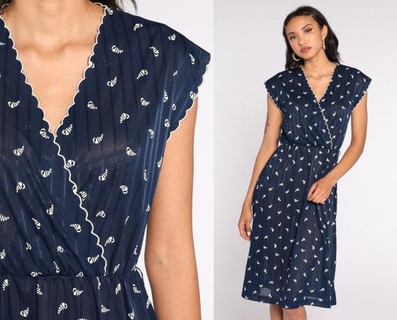 70s Wrap Dress Sheer Shell Print Dress Navy Blue Seashell Dress Boho Midi Deep V Neck High Waist Vintage Cap Sleeve Bohemian Small Medium