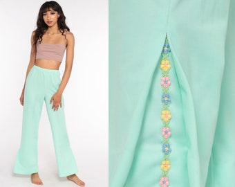 Pastel BELL BOTTOM Pants 70s Mint Green Floral High Waisted Trousers Boho Flared 1970s High Waist Hippie Vintage Bohemian Small xs s