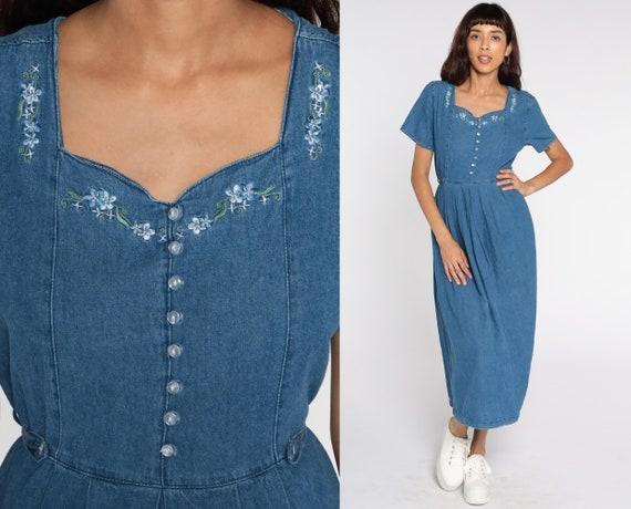 Floral Denim Dress EMBROIDERED 90s Midi Jean Grunge Dress Vintage 1990s Button Up High Waist Granny Short Sleeve Medium