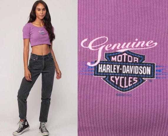 Harley Crop Top Harley Davidson Shirt Girly Biker Tee Motorcycle T Shirt Hipster Tshirt Purple Small Medium