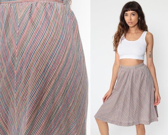 70s Rainbow Skirt CHEVRON Stripe Skirt 1970s Retro Hippie Midi Skirt Vintage High Waist Boho Ethnic Bohemian Knee Length Small 4