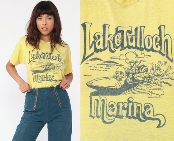 Lake Tulloch Shirt Marina Water Ski Shirt 80s California Vintage Burnout T Shirt Retro TShirt Yellow Travel Thin Tee Graphic Small Medium