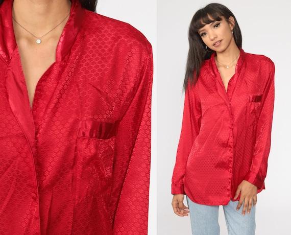 Victoria's Secret Pajama Top Red Satin Pajamas Lingerie Pajama Shirt 90s Pajamas Top Button Up Sleep Shirt Vintage 1990s Medium
