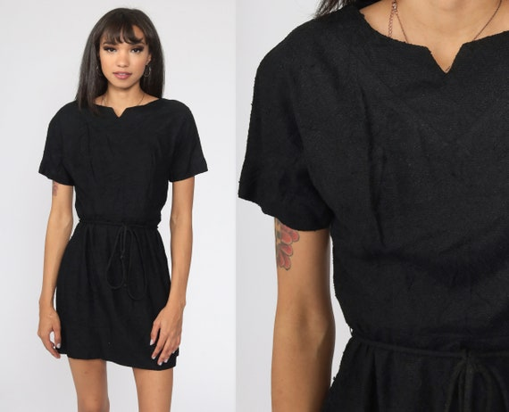 Black Party Dress 1960s Mini Cocktail Mod LBD 60s Vintage Glam High Waisted Evening Mad Men  Minidress Hourglass Extra Small xs