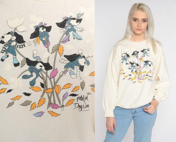 Dog Sweatshirt Dogwood Shirt 80s Petal Pals Sweater Kawaii PUN Animal Tree Shirt Vintage 90s Cream Large L
