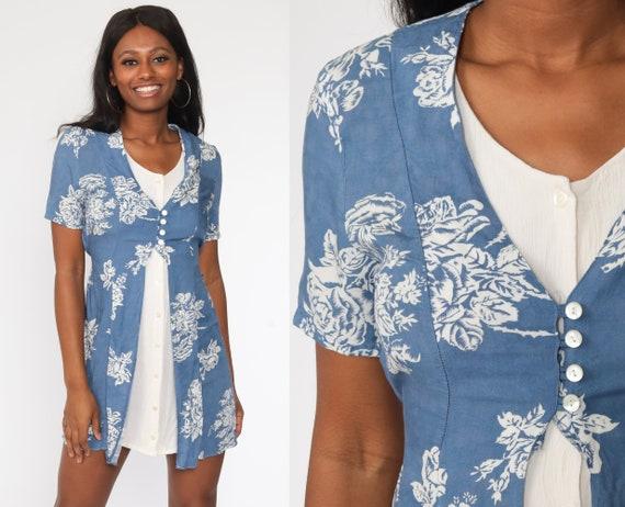 Blue Floral Dress Grunge Mini 90s Wildflower Print Button Up Dress 1990s Short Sleeve Vintage Minidress Shift White Small S