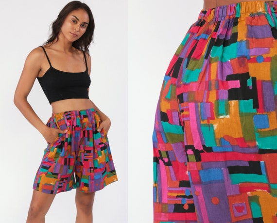 90s Geometric Shorts 90s Wide Leg Shorts Cotton Bright Brushstroke Summer Shorts 80s High Waisted Baggy 1990s Slouchy Vintage Small Medium