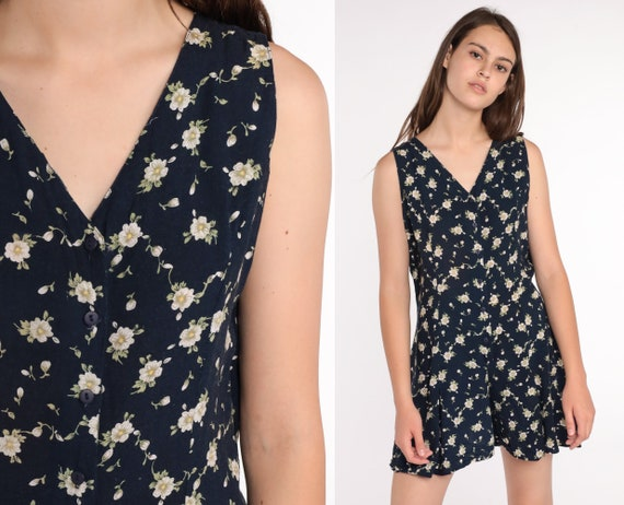 Floral Playsuit Grunge Romper Button up Navy Blue Romper 90s One Piece Woman 1990s Vintage Shorts Summer Sleeveless Small