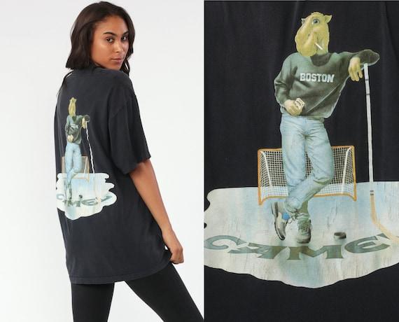 90s Camel Joe Shirt BOSTON Hockey Shirt Cigarette TShirt Smoking T Shirt 1980s Vintage Tobacco Pocket Tee Smokers Extra Large xl l
