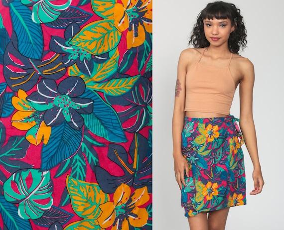 Tropical WRAP Skirt 90s Mini Floral Print Bright Summer Boho 1990s Vintage Hippie Festival High Waisted Bohemian Small Medium