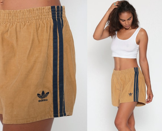 Corduroy Adidas Shorts 80s Brown Running Shorts High Waisted Striped Jogging Gym Navy Blue Vintage Athletic Sportswear Large