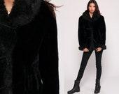 Fake Fur Coat Black Faux Fur Jacket Vegan Winter Jacket Vintage 90s Bohemian Furry Glam Fuzzy Jacket 1990s Hipster Boho Small Medium