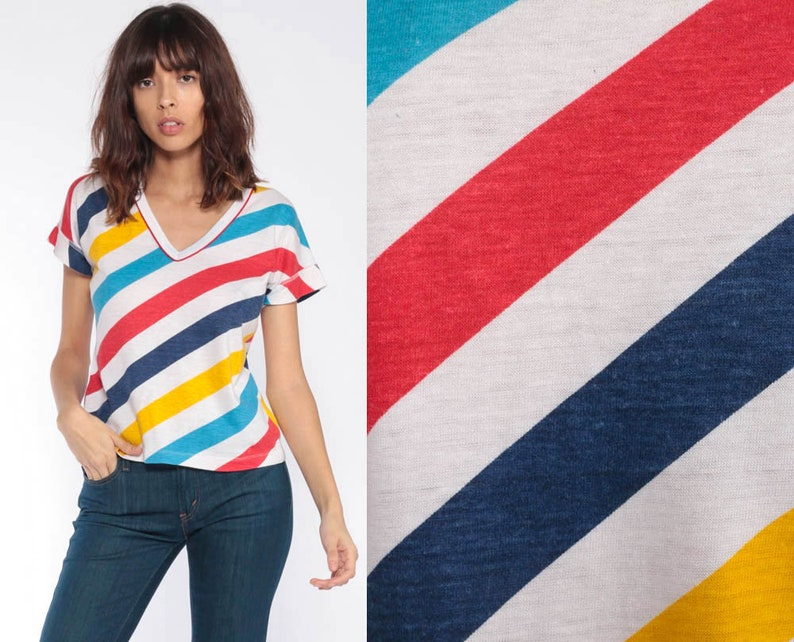 12d5fcaf4710 Striped V Neck Tee Shirt Retro T Shirt Ringer Tee Baby Tee