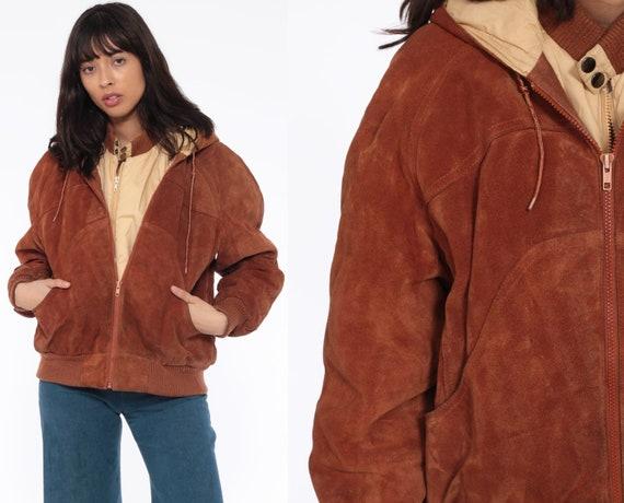 Hooded Leather Jacket 42 -- Men's Brown Suede Coat 70s Leather Hoodie Bomber 1970s Boho Hood Bohemian Vintage Brown Large