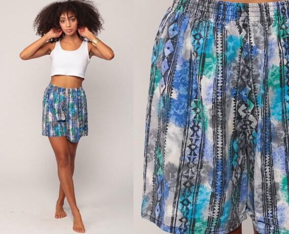Beach Shorts 90s Shorts Batik Shorts Tribal Print Blue Cotton Summer High Waisted Retro Vintage 1990s Hipster Small Medium