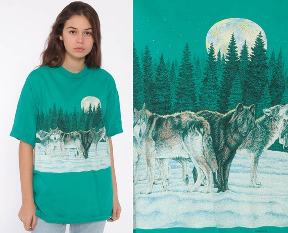Wolf Pack Shirt Habitat Animal T Shirt 90s Graphic Tshirt Moon Shirt 1990s Grunge Screen Print Nature Mountain Retro Large
