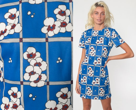 Blue Floral Shift Dress 60s Mod Mini Print Hippie Vintage 70s Gogo Twiggy Sixties Minidress Short Sleeve Small s