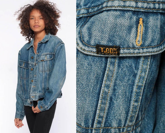 80s LEE Jean Jacket -- LEE Denim Jacket Blue Stone Wash Blue Oversize Trucker Distressed 1980s Vintage Biker Button Up Extra Small XS