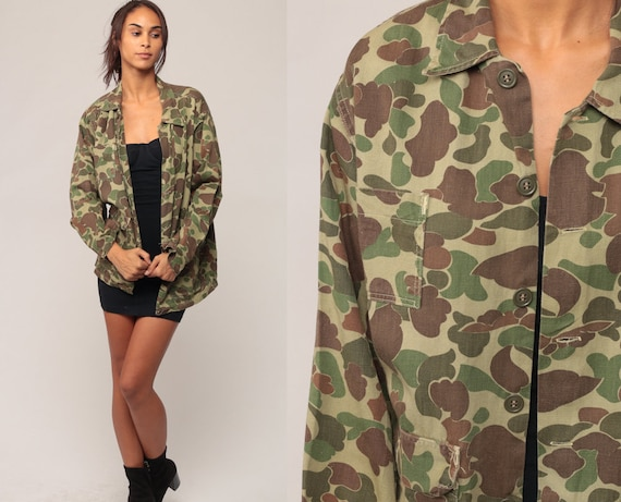 Camouflage Shirt Camo Shirt Military Shirt Army 80s Commando Cotton Button Up Grunge Oversized 90s Vintage Green Brown Large